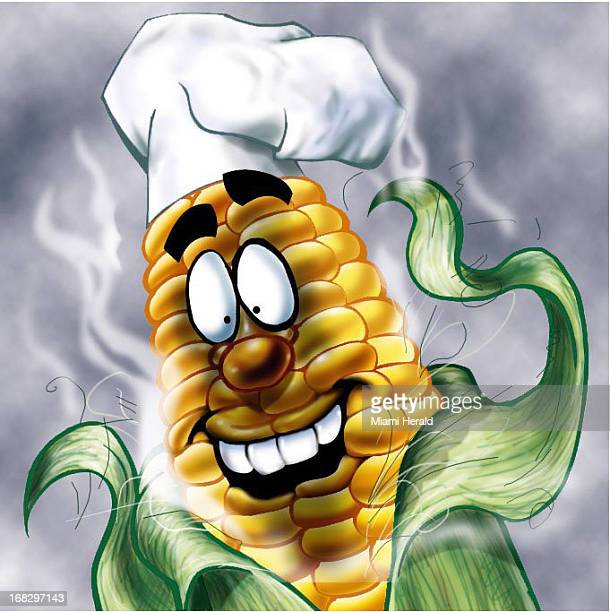 Reginald Myers color illustration of personified ear of corn barbecued and wearing a chef's hat