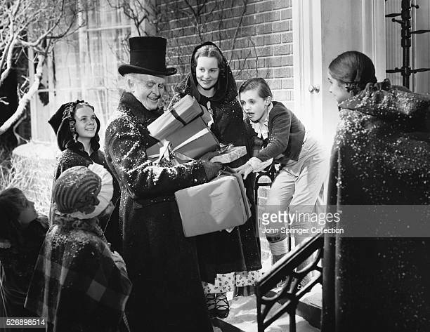 Reginald Owen stars as Ebenezer Scrooge in the 1938 motion picture A Christmas Carol