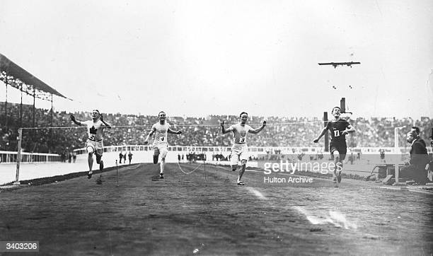 Reginald Walker of South Africa winning the 100 metre flat race final in a time of 108 seconds during the 1908 Olympic Games held in London