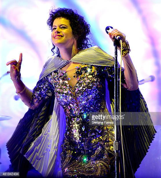 Regine Chassagne of Arcade Fire performs headlining The Pyramid Stage on Day 1 of the Glastonbury Festival at Worthy Farm on June 27 2014 in...