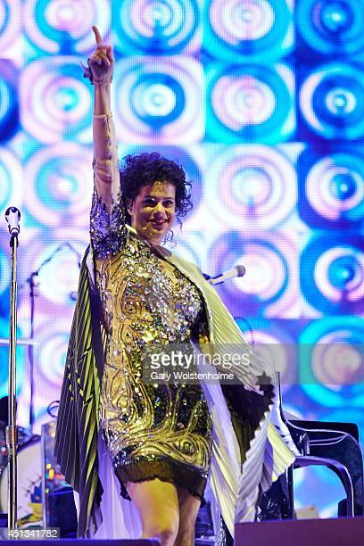 Regine Chassagne of Arcade Fire performs on Day 1 of the Glastonbury Festival at Worthy Farm on June 27 2014 in Glastonbury England