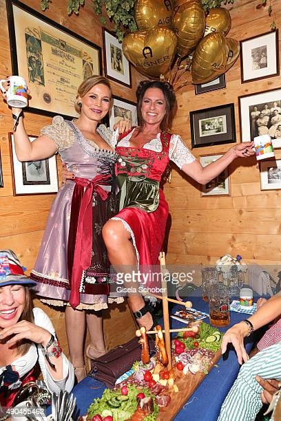 Regine Halmich and Christine Neubauer attend the Aigner Wiesn during the Oktoberfest 2015 at Vinzenzmurr Metzgerstubn on September 28, 2015 in...