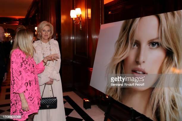 Regine Mahaux and Princess Astrid of Belgium attend the Regine Mahaux : Exhibition at Hotel Raphael on February 25, 2020 in Paris, France.