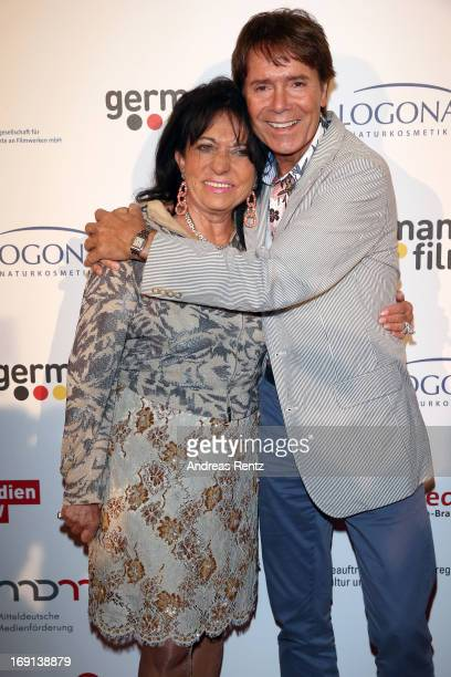 Regine Sixt and Cliff Richard attend the German Films reception during the 66th Annual Cannes Film Festival at the Majestic Beach on May 20 2013 in...