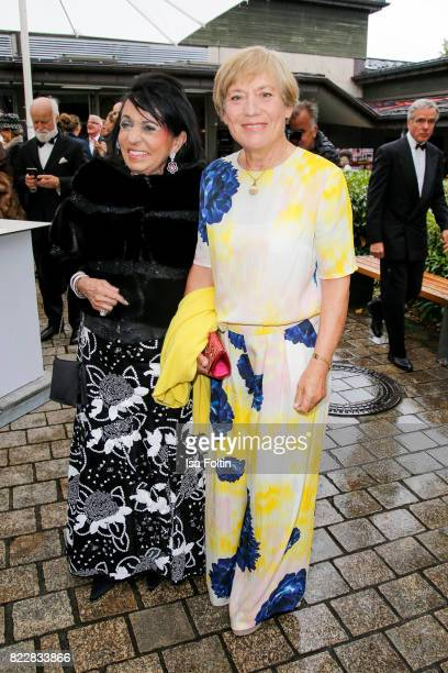 Regine Sixt and former German skier Rosi Mittermaier attend the Bayreuth Festival 2017 Opening on July 25 2017 in Bayreuth Germany