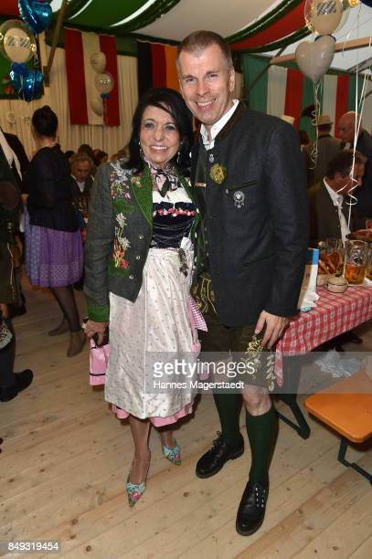 Regine Sixt and Peter Mey during the BMW Armbrustschiessen as part of the Oktoberfest 2017 at ArmbrustSchuetzenfesthalle on September 18 2017 in...