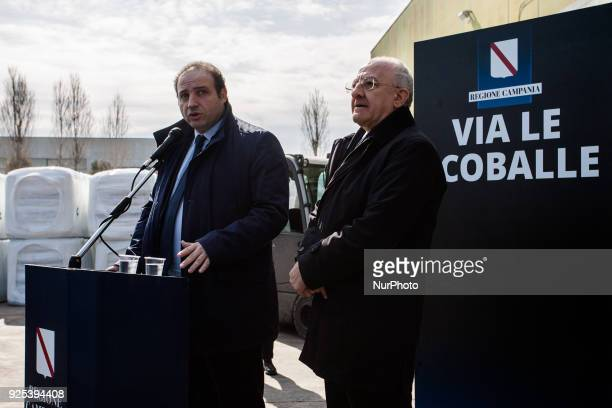 Region Campania Governor Vincenzo De Luca whit the Mayor of Giugliano in Campania Antonio Pozziello during a press conference at Ecoballe Plant STIR...