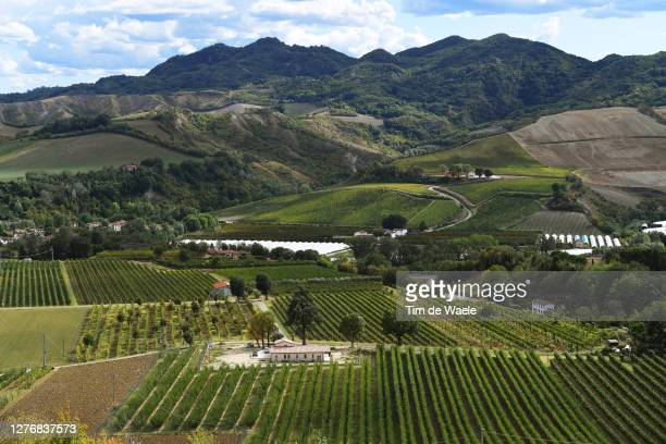 Region Emilia - Romagna / Mountains / Vineyards / Landscape / during the 93rd UCI Road World Championships 2020, Women Elite Road Race a 143km race...