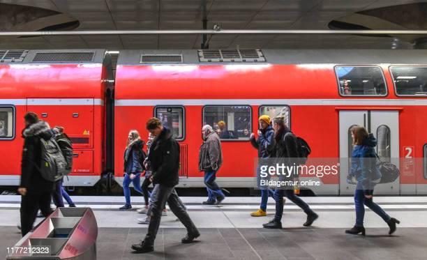 Regional express train central station Moabit middle Berlin Germany Regionalexpress Hauptbahnhof Mitte Germany