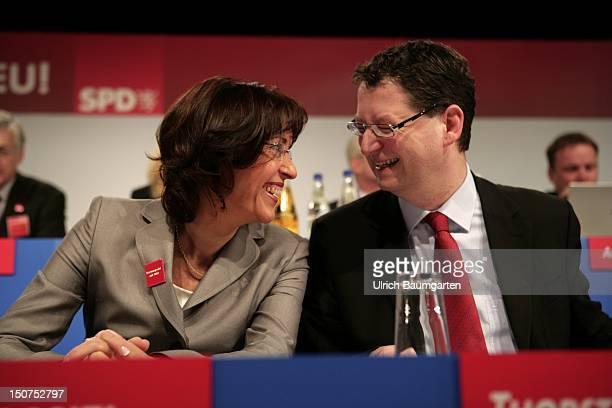 GERMANY ALSFELD Regional party conference of the Hessian SPD in Alsfeld Ops Andrea YPSILANTI chairwoman of the Hessian SPD and chairwoman of the...