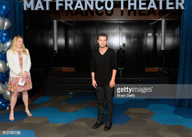 Regional President of the Linq Hotel Casino Eileen Moore watches as magician Mat Franco speaks after revealing his namesake theater marquee as part...