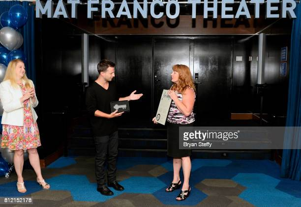 Regional President of the Linq Hotel Casino Eileen Moore watches as magician Mat Franco is presented a ceremonial key to the Las Vegas Strip and a...