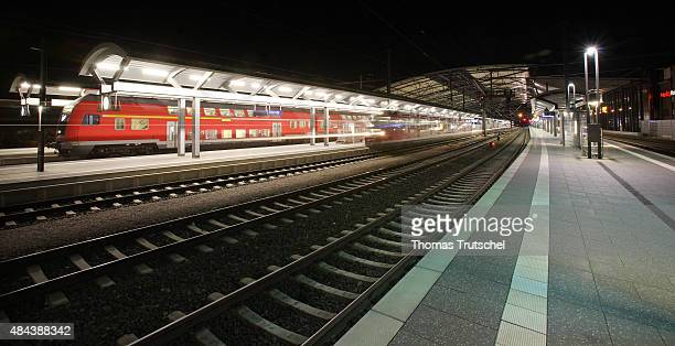 Regional trains of Deutsche Bahn stand during the night on their tracks in main train station on September 28 2008 in Erfurt Germany