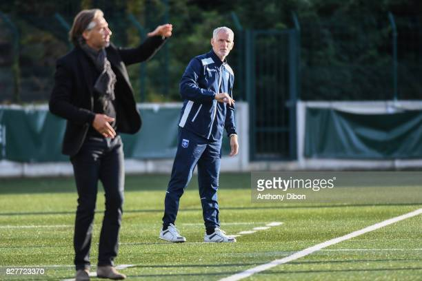 Regis Brouard coach of Red Star and Francis Gillot coach of Auxerre during the first round of French League Cup match between Red Star and AJ Auxerre...