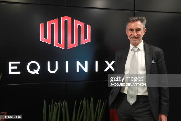 Regis Castagne managing director of Southern European Equinix Data Center poses during the inauguration of the Paris data centre called PA8 the...