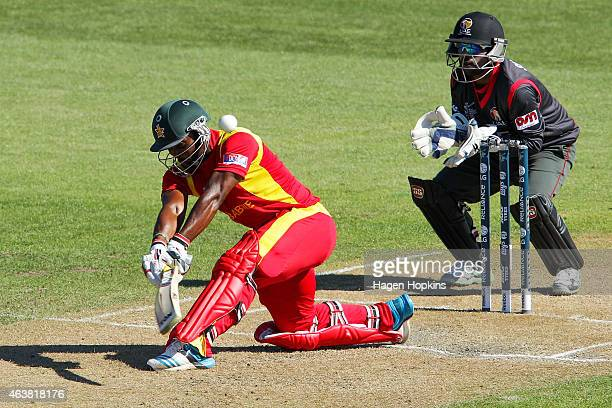Regis Chakabva of Zimbabwe bats while Swapnil Patil of the United Arab Emirates looks on during the 2015 ICC Cricket World Cup match between Zimbabwe...