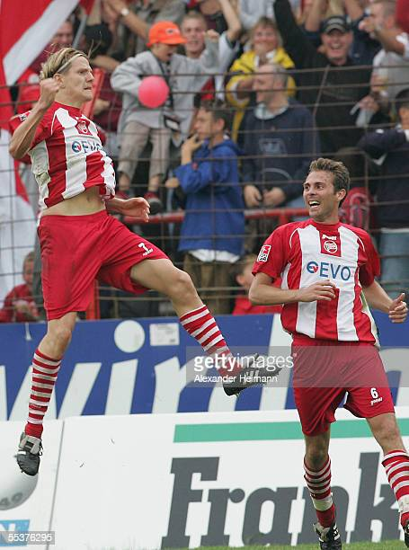 Regis Dorn and Daniel Schumann of Offenbach celebrate Dorn's goal during the second Bundesliga between Kickers Offenbach and SC Freiburg on September...