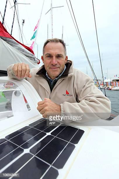 'Regis Guillemot Charter' French skipper Regis Guillemot poses on his boat on October 29 2010 in the Saint Malo harbour western France before the 9th...