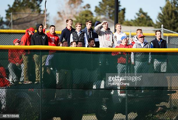 Regis Jesuit High School students cheer the baseball team during the game against Mountain Vista High School at Regis Jesuit High School Aurora...