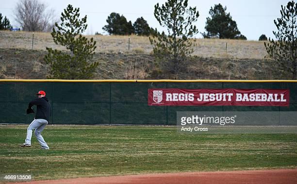Regis Jesuit pitcher Brent Schwarz at practice March 18 2015