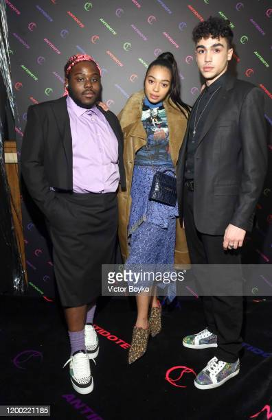 Regis Nkissi Manon Bresch and Carl Malapa attend the Christian Louboutin x Antidote Party at Le Petit Palace on January 17 2020 in Paris France