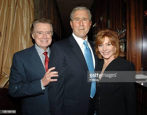 Regis Philbin and Joy Philbin with President George W Bush impersonator