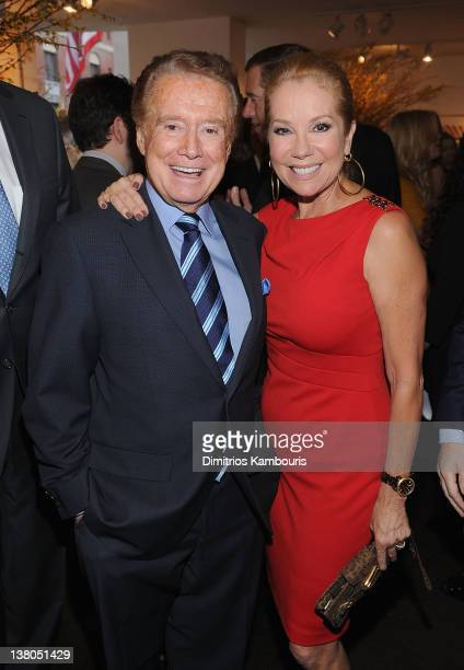 Regis Philbin and Kathy Lee Gifford attend the New York Giants Super Bowl Pep Rally Luncheon at Michael's on February 1 2012 in New York City