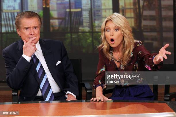 Regis Philbin and Kelly Ripa attend a press conference on Regis's departure from 'LIVE with Regis and Kelly' at ABC Studios on November 17 2011 in...