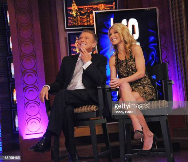 Regis Philbin and Kelly Ripa during Regis Philbin's Final Show of 'Live with Regis Kelly' at the Live with Regis Kelly Studio on November 18 2011 in...
