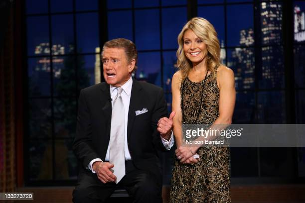 Regis Philbin and Kelly Ripa on set during Regis Philbin's Final Show of 'Live with Regis Kelly' at the Live with Regis Kelly Studio on November 18...