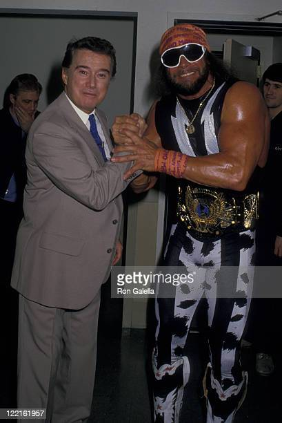 Regis Philbin and Randy Savage attend the taping of Good Morning America on April 26 1988 at NBC TV Studios in New York City