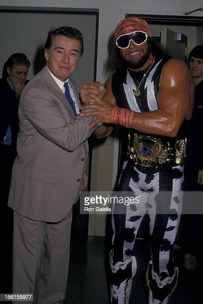 Regis Philbin and Randy Savage attend the taping of 'Good Morning America' on April 26 1988 at NBC TV Studios in New York City