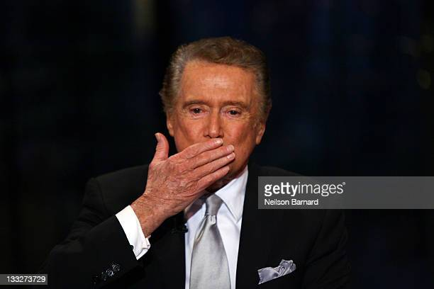 Regis Philbin on set during Regis Philbin's Final Show of 'Live with Regis Kelly' at the Live with Regis Kelly Studio on November 18 2011 in New York...