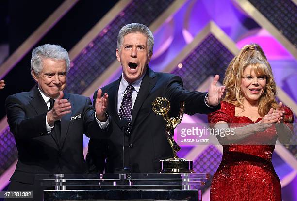 Regis Philbin Tom Bergeron and Charo onstage during The 42nd Annual Daytime Emmy Awards at Warner Bros Studios on April 26 2015 in Burbank California