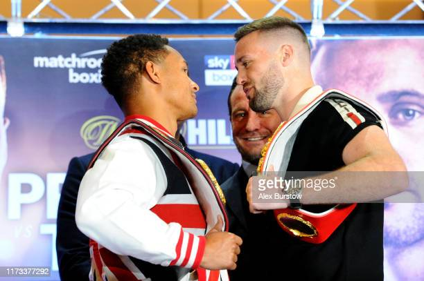 Regis Prograis and Josh Taylor faceoff after speaking to the media during the Regis Prograis and Josh Taylor Press Conference in the lead up to the...
