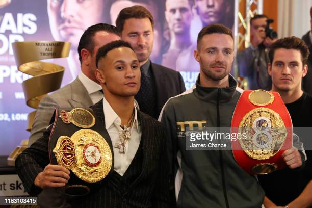 Regis Prograis and Josh Taylor pose for the media after the Press Conference ahead of the World Boxing Super Series SuperLightweight Ali Trophy Final...