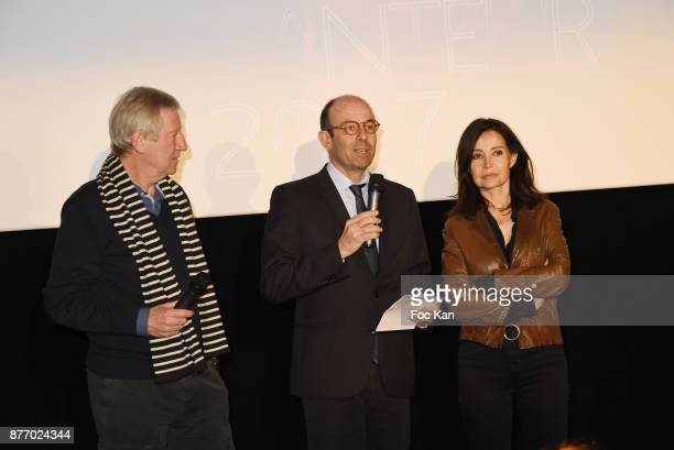 Regis Wargnier a producer and Evelyne Bouix attend the Tribute to JeanClaude Brialy at Centre National du Cinema et de l'Image Animee on November 20...