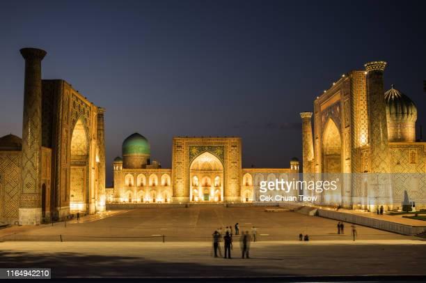 samarkand, uzbekistan : registan square at samarkand, uzbekistan. - 中央アジア ストックフォトと画像