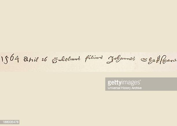 Register Entry For Baptism Of William Shakespeare In Holy Trinity Church StratfordUponAvon It Reads 1564 April 26 Guiliamus Filius Johannes Shakspere...