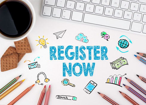 Register Now, Business concept. White office desk 623445176