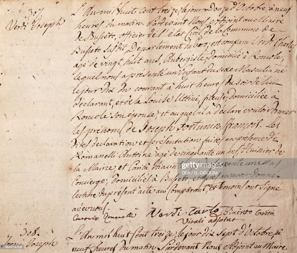 Register of births pictures getty images register of births showing birth certificate of giuseppe verdi written in french language october 12 aiddatafo Images