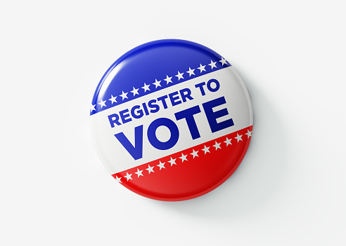 Register To Vote Badge For Elections In USA 1054696836