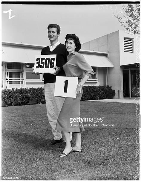 Registering for spring semester classes at El Camino Junior College, Marilyn Meyers, 20 years, Patricia Blakeney, 19 years, William Baldwin, Miss...