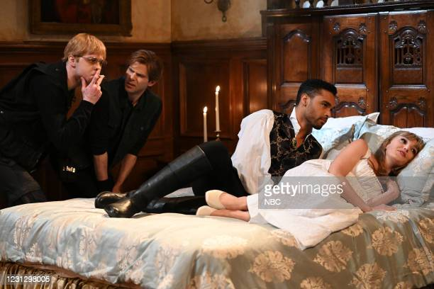 """Regé-Jean Page"""" Episode 1798 -- Pictured: Pete Davidson, Mikey Day, host Regé-Jean Page, and Chloe Fineman during the """"Intimacy Coordinator"""" sketch..."""