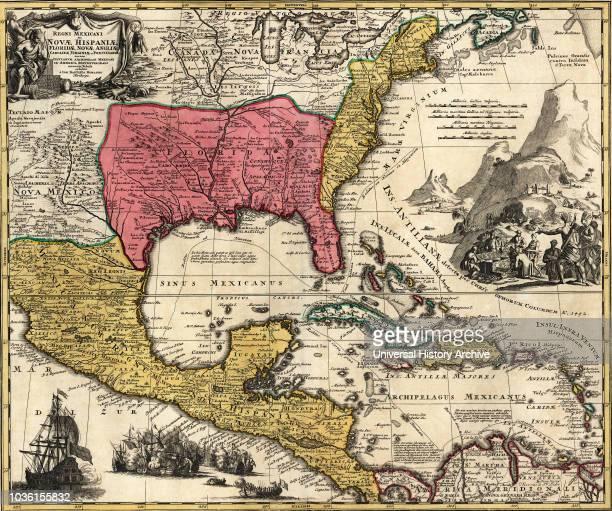 Regni Mexicani seu Novae Hispaniae, Floridae, Novae Angliae, Carolinae, Virginiae and Pensylvaniae. After a map dating from 1720 by German map-maker...