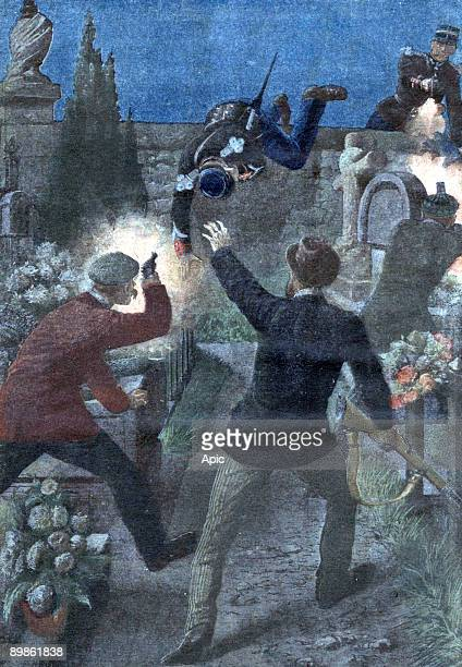 regrettable mistake two policemen where injured by the cemetery keepers who thought they were bandits lastpage of newspaper Petit Journal november 14...