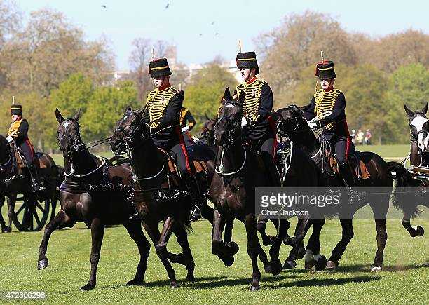 Regular and Reserve soldiers of the King's Troop Royal Artillery prepare to mark the Queens 89th birthday with a 41 Gun Royal Gun Salute in Hyde Park...