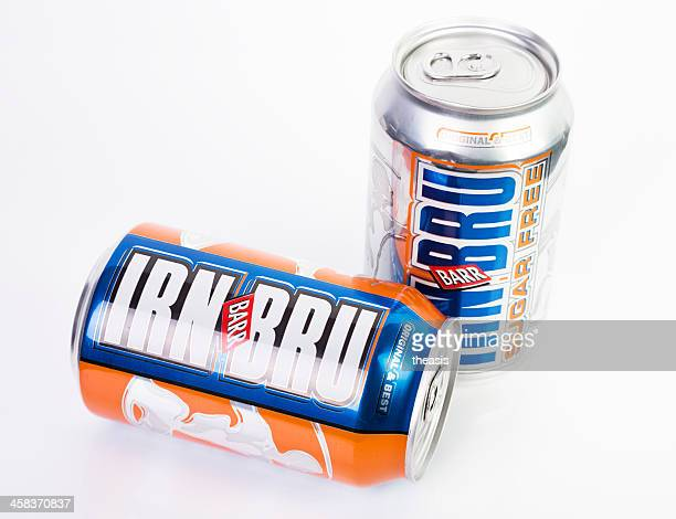 regular and sugar free irn bru cans - theasis stock pictures, royalty-free photos & images