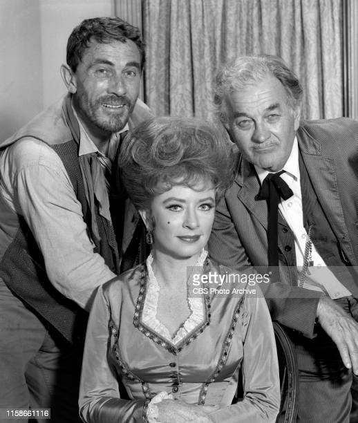 Regular cast members from the CBS television Western series Gunsmoke July 22 1965 Pictured from left is Ken Curtis Amanda Blake Milburn Stone