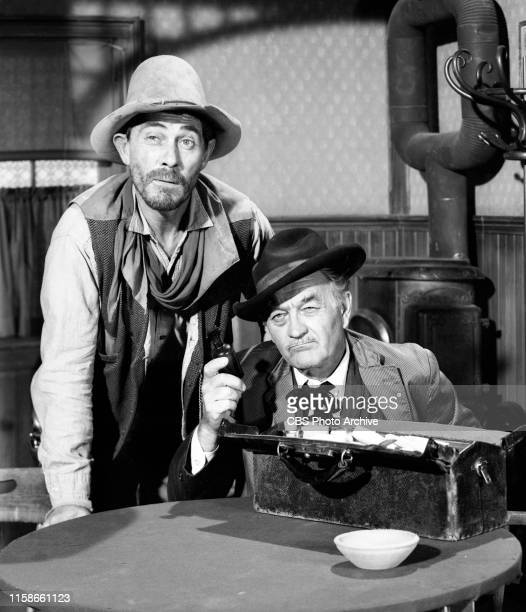 Regular cast members from the CBS television Western series Gunsmoke July 22 1965 Pictured from left is Ken Curtis Milburn Stone